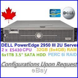 DELL PowerEdge 2U Server 2950 III 2 x E5430 32GB RAM PERC 6i Raid 6 x 1TB HDD