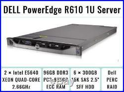 DELL PowerEdge R610 1U Server 2×Quad-Core Xeon 2.66GHz + 96GB RAM + 6×300GB RAID