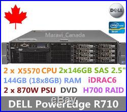 DELL PowerEdge R710 Server 2x X5570 144GB RAM 2x 146GB SAS 2.5 H700 Raid 2x870W