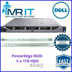 Dell PowerEdge R620 Server 2x Intel Xeon E5-2640 0@2.50GHz 128GB 5x 1 TB WithRails