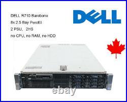 Dell R710 Barebone 82.5 Bays Perc 6/i 2x PSU 2x 870W No CPU No RAM No HDD
